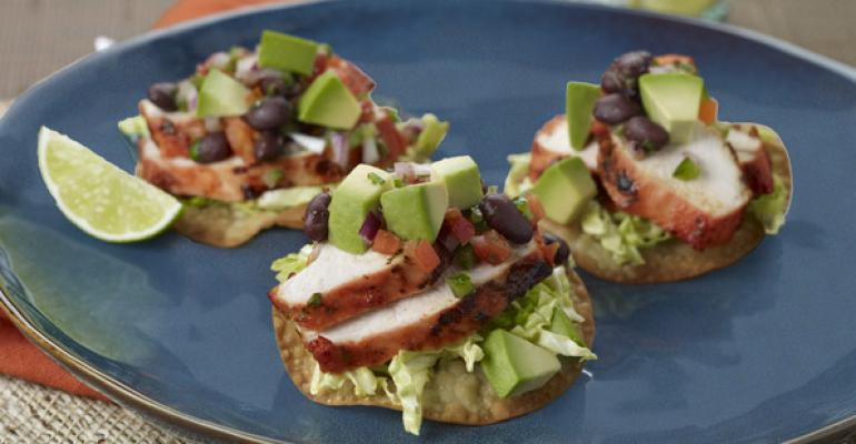 Anchiote Grilled Chicken Tostada with Avocado-Black Bean Relish