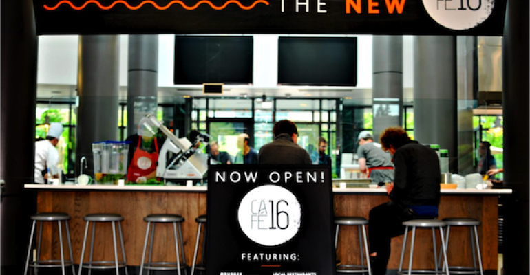 The renovated Cafe 16 on the Microsoft Redmond campus has achieved growth of 31  in participation 41 in sales 17 in check average and 21 in customer counts since it debuted in midMay