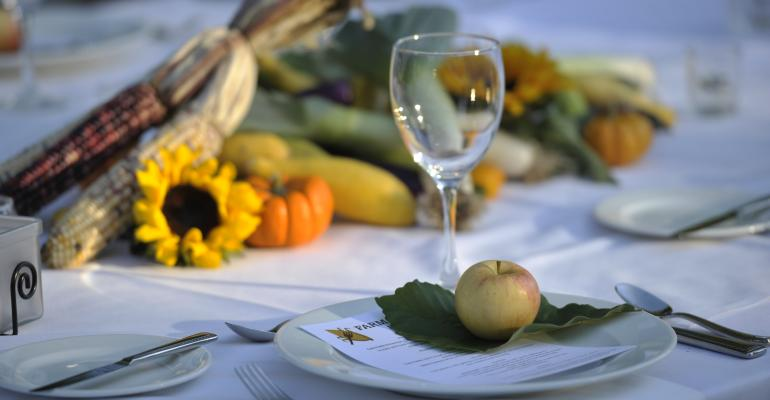 Fallperfect table setting at a fall farmtofork event catered by Vanderbilt University
