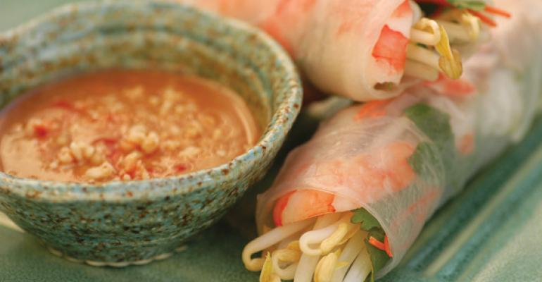 Shrimp and Pork Salad Rolls with Hoisin-Peanut Sauce