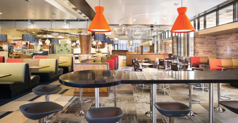 A variety of seating options provide flexibility for diners