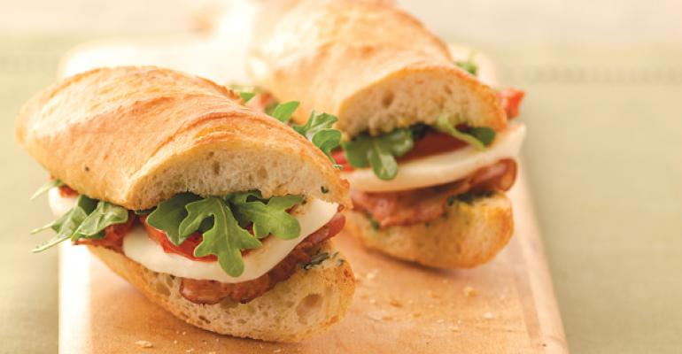 Crispy Pancetta Sandwich with Fresh Mozzarella and Arugula