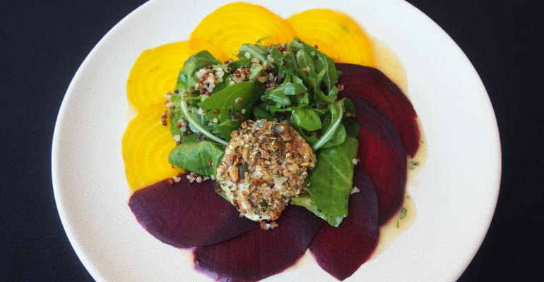 Beet Carpachio with Arugula Quinoa and Goat Cheese at UCLA39s new Bruin Plate