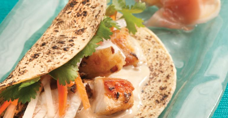 Barramundi Tacos with Asian Slaw & Sesame Yogurt