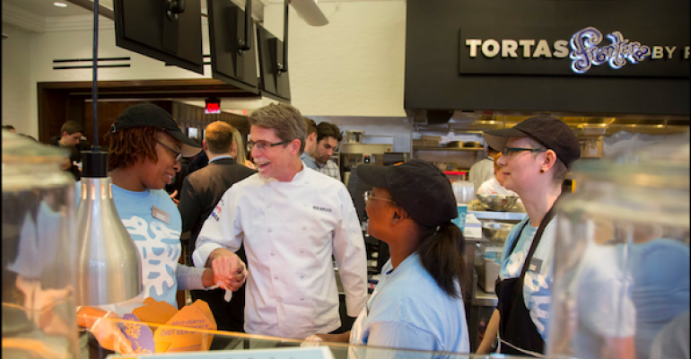 Celebrity chef Rick Bayless helps open the new Tortas Frontera at the University of Pennsylvania