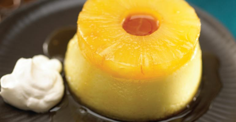 Pina Colada Crème Caramel with Pineapple Spiked Chantilly Cream