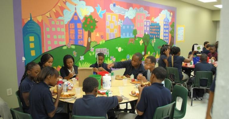 Charter School Feasts on Family Style Seating