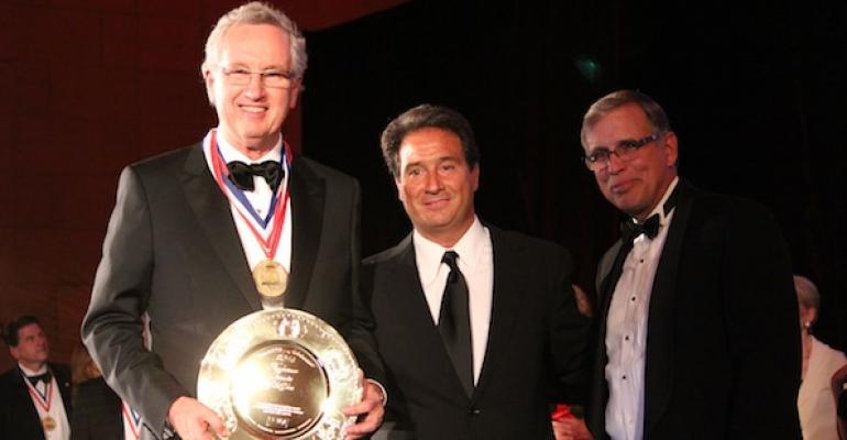 Eat 39n Park Chairman James Broadhurst accepts the 2014 IFMA Gold Plate Award from IFMA First Vice Chairman Richard Ferranti of Rich Products c and IFMA PresidentCEO Larry Oberkfell
