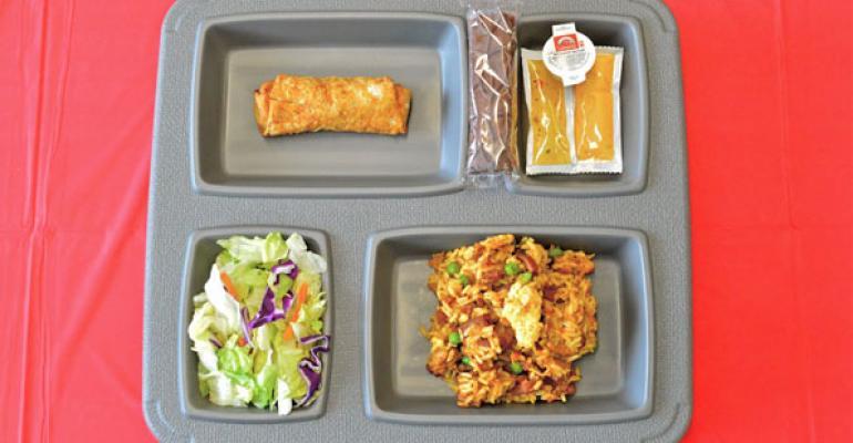 This example an eggroll fried rice and salad is a typical meal at the Utah State Prison
