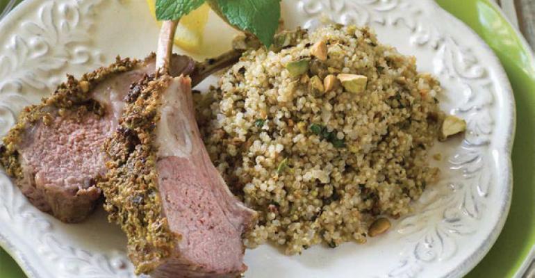 Pistachio Garlic Mint Quinoa Pilaf with Lamb