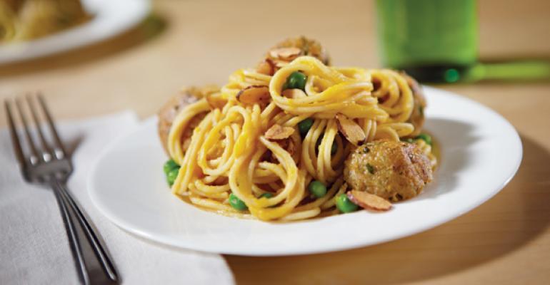 Whole Grain Spaghetti with Curried Butternut Squash Sauce and Quinoa-Falafel Balls