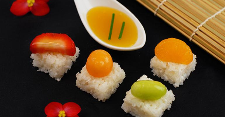 Frushi: Coconut Sticky Rice with Fresh Fruit and Orange Sauce