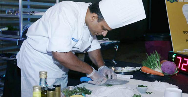 Aatul Jain won AHFrsquos culinary competition for his Bodacious Beans and Bass dish