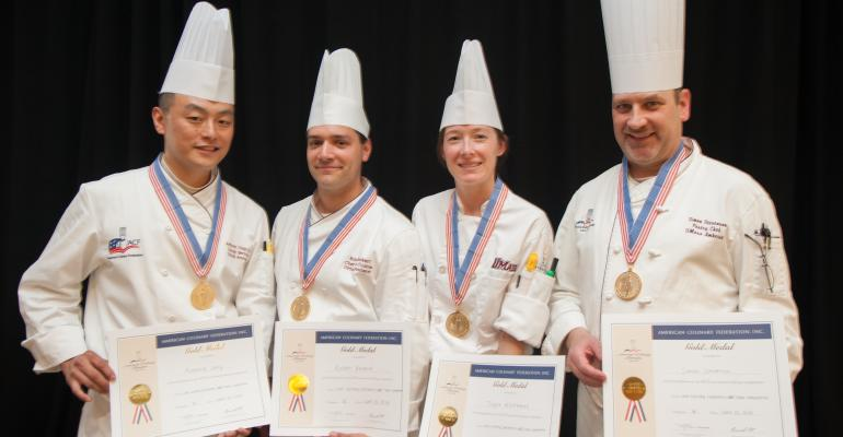 UMass chefs Anthony Jung Robert Bankert Taylor Whitmore and pastry chef Simon Stevenson win the gold
