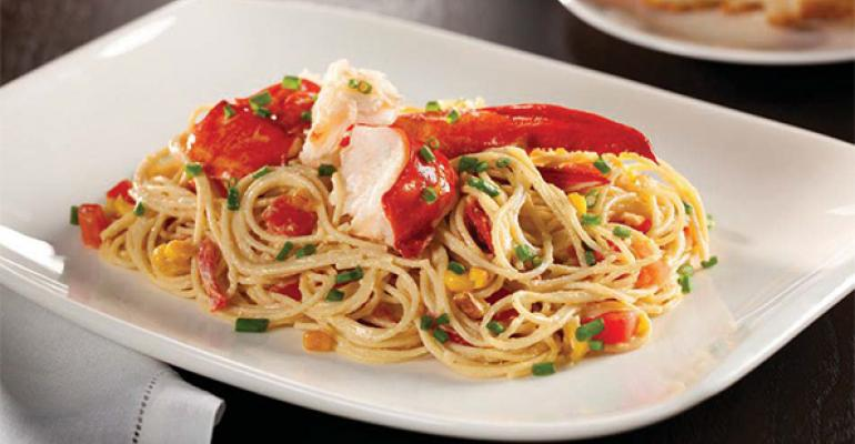 New England Lobster with Angel Hair Pasta and Roasted Corn Puree
