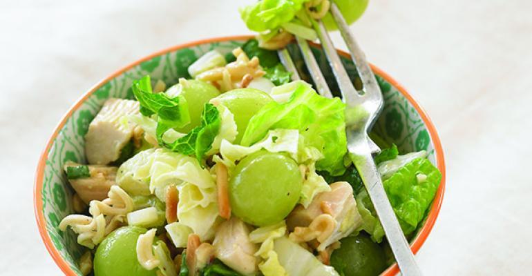 Asian Chicken, Ramen and Grape Salad