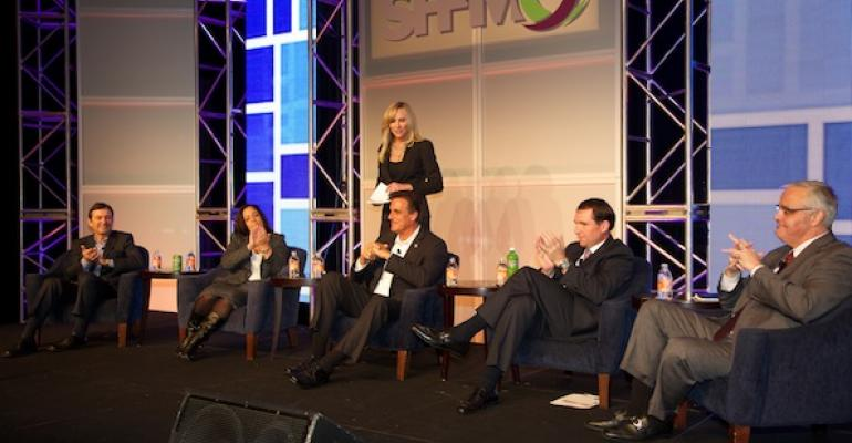 Barbara Kane of Ecolab standing moderates a Team of Rivals panel you just don39t see every day Panelists l to r included Mark Bickford of Sodexo Kathleen Ciaramello of CocaCola Rick Postiglione of Compass Group Kirk Tanner of PepsiCo and Frank Kiely of Aramark