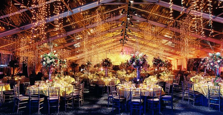 A decorated tent from an RMA catered event