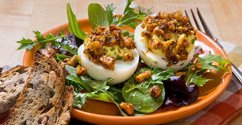 """Deviled Eggs with Cajun-Spiced Walnut """"Crumb"""" Topping"""