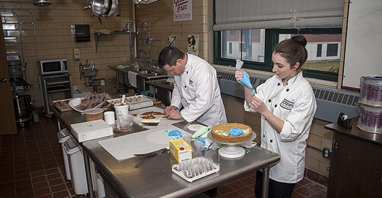Culiany Manager Rob Landolphi and Pastry Chef Kristina Breuninger prepare glutenfree baked goods in UConn39s new exclusively glutenfree bakery kitchen