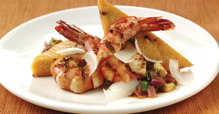 Nuevo Latino Shrimp and Smoked Cheddar Grits
