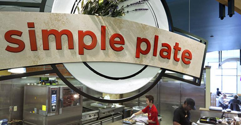 The name says it all Simple plate serves salads and vegan leanmeat and glutenfree dishes for lunch and dinner all in USDArecommended portion sizes