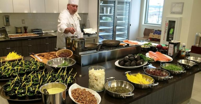 Parkhurst Executive Chef Cameron Clegg demonstrating some healthy cooking techniques