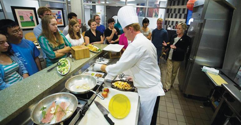 FRONT AND CENTER Chef Patrick McElroy and Registered Dietitian Connie Diekman hosting a Dine with the Dietitian demonstration at Washington University in St Louis
