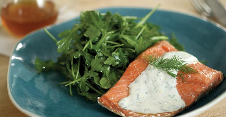 Chilled Poached Salmon with Honey-Yogurt Dressing