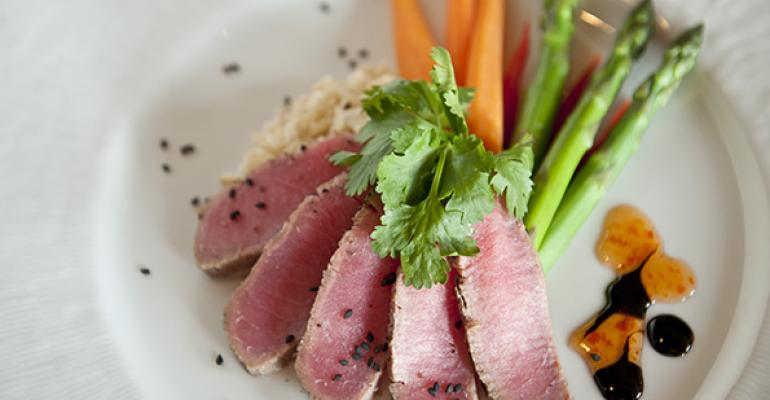 A panseared tuna plate shows the elegance of dining at Mather