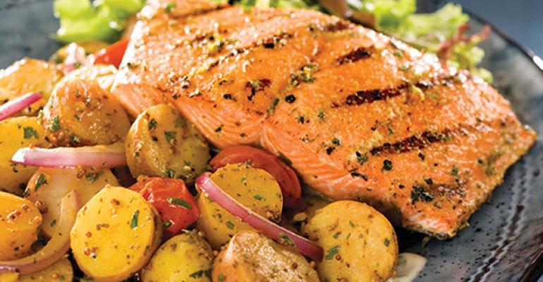 Salmon Calcutta with Fingerling Potatoes