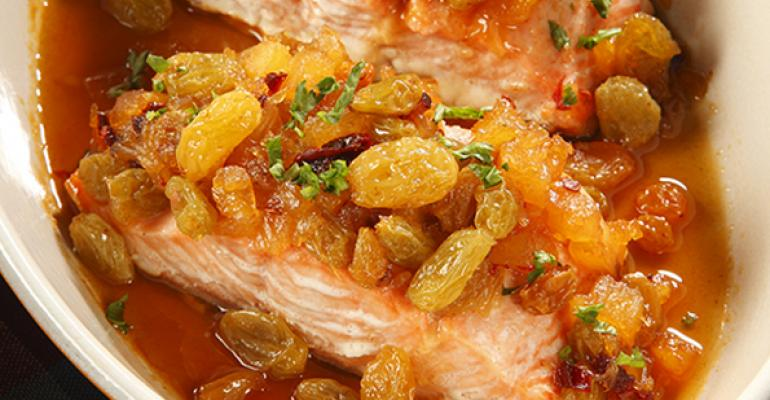 Honey Chipotle Raisin Glazed Salmon