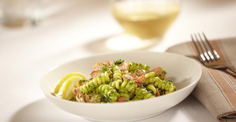 Salmon and Horseradish Spinach Pesto Pasta