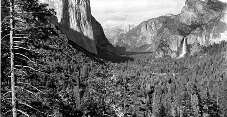 Distant view of Yosemite Valley from the Wawona Tunnel