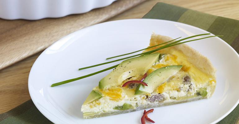 Avocado, Sausage, Onion and Jalapeno Colby Cheese Quiche