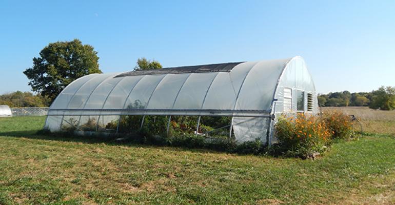 A hoop house at Antioch Farm