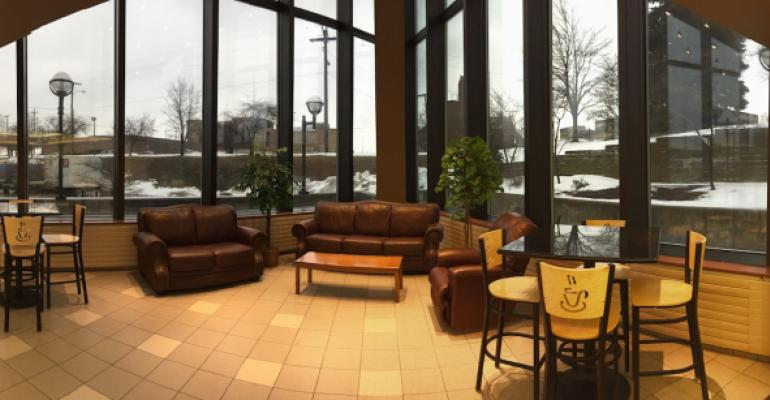A lounge area was added to the redesigned Cafe 1007 at IU Health La Porte Hospital using furniture already on hand that wasn39t otherwise being used including a couch love seat and easy chair