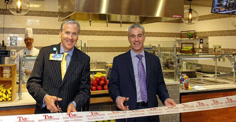 TMC Chief Executive Officer Charlie Shields and Morrisonrsquos Regional Vice President Scott Lewis cut the ribbon at opening festivities for crEATe the new teaching kitchen located in the TMC Hospital Hill Cafeteria