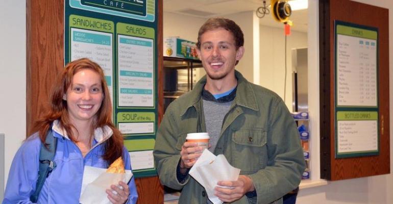 Seniors Heidi Hanekamp and Logan Feezer enjoy a snack purchased from University of Wyoming39s new Encore Cafe