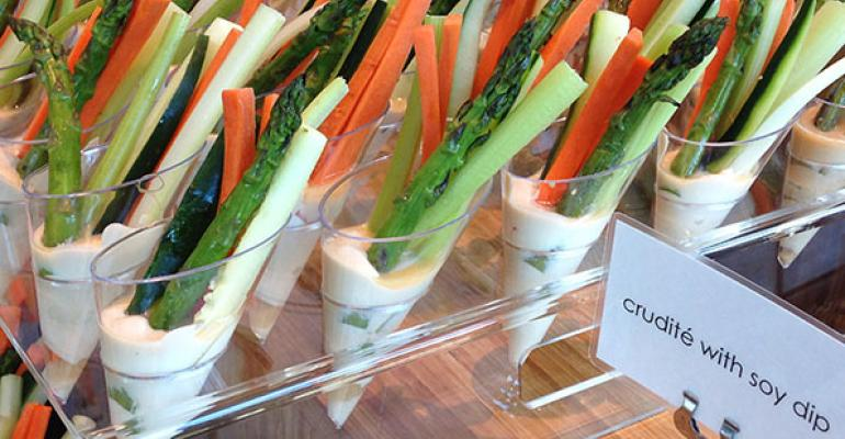 Compass Group offers beautifully prepared healthy catering options such as crudite with soy dip