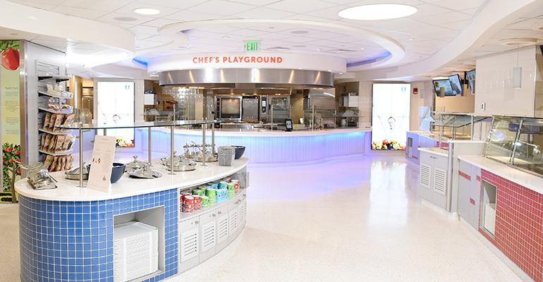 The centerpiece of the new retail food court at Boston Childrenrsquos Hospital is the Chefrsquos Playground exhibition cooking station which not only hosts guest chefs but also interactive cooking events with child patients and their parents