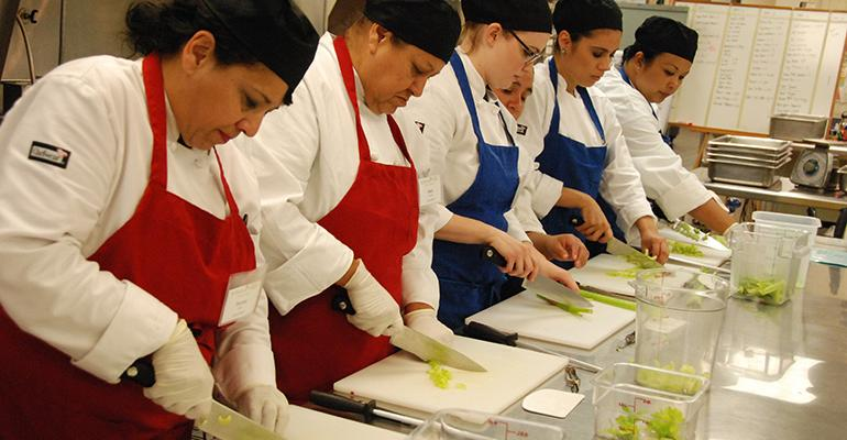 Training for school foodservice workers in areas like knife skills