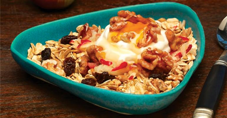 Lazy morning muesli with apple and walnut crumble