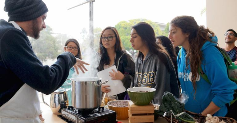 Chef Mickael Blancho affectionately known campus as the UCSB quotSoup Guyquot during a cooking demonstration that officially kicked off the Food Nutrition and Basic Skills Program