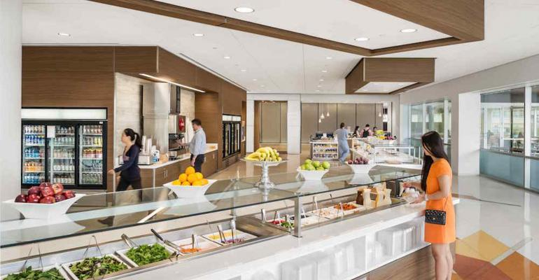 The selfserve salad bar in the One West Cafe offers a full selection of choices