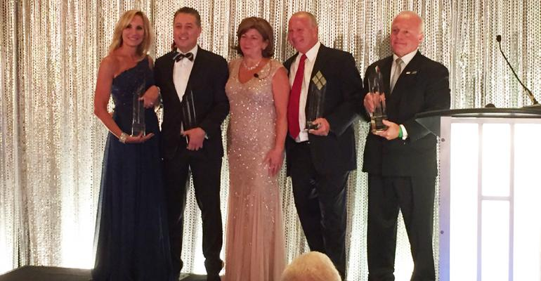 Outgoing SHFM President Bernadette Ventura c presented Presidents Awards to four individuals at the conferenceclosing President39s Banquet They were from l Barbara Kane of Ecolab Tony Butler of FSA Management Group Mark Maloney of Compass Group and Ron Ehrhardt of Compass Group