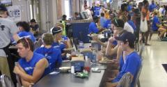 tudents at Georgia Southern University take their meals in the temporary Nest dining hall put up by Kitchens 2 Go in a parking lot while the school rebuildsrenovates two of its dining hallls