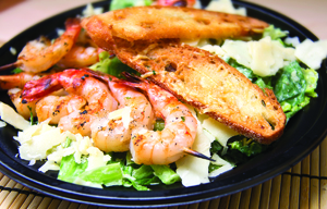 Caesar Salad With Shrimp Kebobs