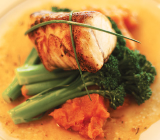 Chef Kevin Blinn's pan-seared monkfish with a citrusy orange-pineapple-lime sauce