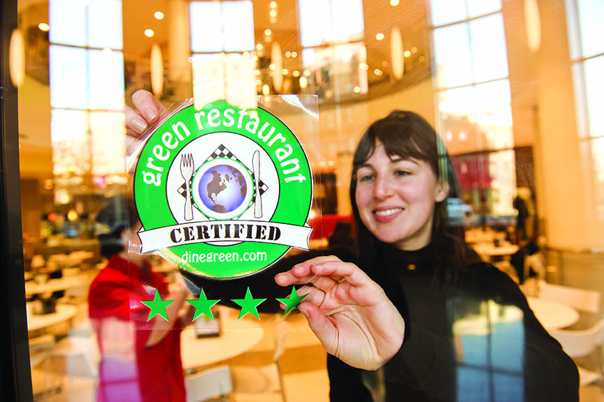 Boston University has three 4-star Certified Green Restaurants.